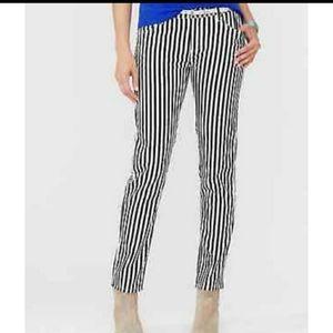 Garnet Hill Black & White Stripe Jeans siz…